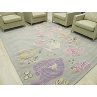 Hand-tufted Wool Gray Transitional Animal Kid's Fish & Turtle Rug (8' x 10')