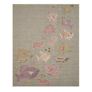Hand-tufted Wool Gray Transitional Animal Kid's Fish & Turtle Rug (6' x 9') - 6' x 9'