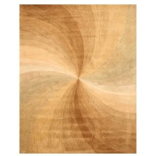 Hand-tufted Wool Gold Contemporary Abstract Swirl Rug (9'6 x 13'6)