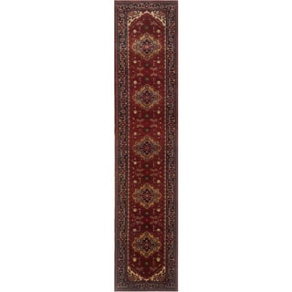 Herat Oriental Indo Hand-knotted Serapi Red/ Navy Wool Runner (2'7 x 14'1)