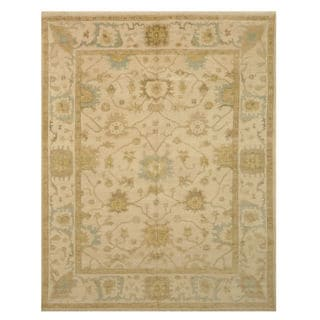 Hand-knotted Wool Ivory Traditional Oriental Oushak Rug (8' x 10')
