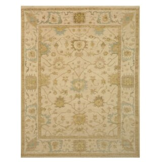 Hand-knotted Wool Ivory Traditional Oriental Oushak Rug (8' x 10') - 8' x 10'