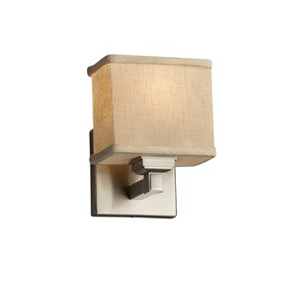 Justice Design Group Textile Regency 1-light Brushed Nickel ADA Wall Sconce, Cream Rectangle Shade