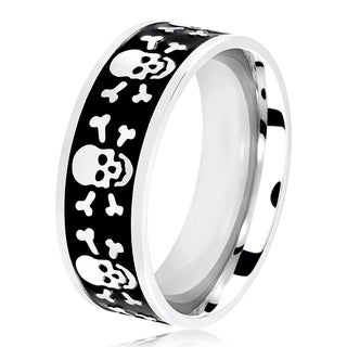Men's Two Tone Polished Stainless Steel Skull and Crossbones Flat Ring - 8mm Wide