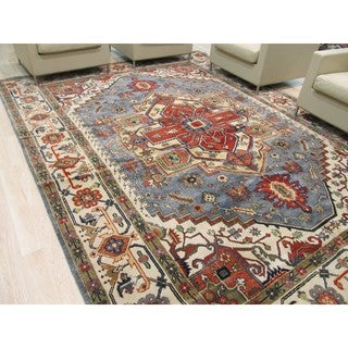 Hand-knotted Wool Blue Traditional Oriental Serapi Rug (10' x 14')