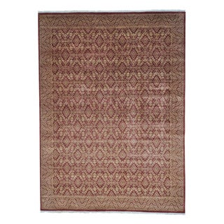 Tone on Tone Geometric Design Hand Knotted Oriental Rug (9'2 x 12'6)