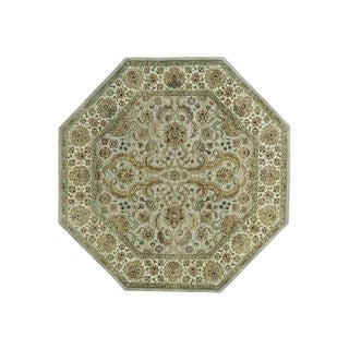Octagonal Pure Wool Rajasthan Hand Knotted Oriental Rug (8'1 x 8'2)