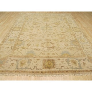 EORC Hand Knotted Wool Ivory Oushak Rug (6' x 9')