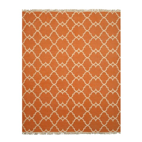 Handmade Polyester Orange Transitional Trellis Reversible Moroccan Outdoor Rug - 5' x 8'