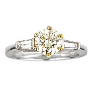 18k Two-tone Gold 1 1/3ct TDW Fancy Yellow Diamond Engagement Ring