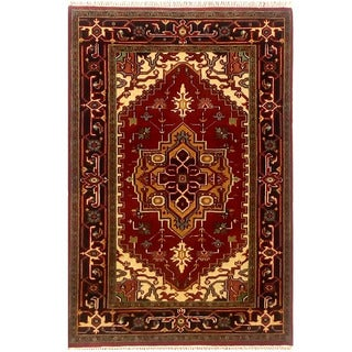 Herat Oriental Indo Hand-knotted Serapi Red/ Black Wool Rug (3'2 x 5')