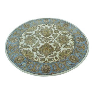 Round Hand Knotted Pure Wool Rajasthan Oriental Rug (4'1 x 4'1)