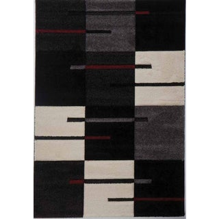 EFES Collection Black Red Grey Cream Modern Geometric Design Area Rug (5' x 8')
