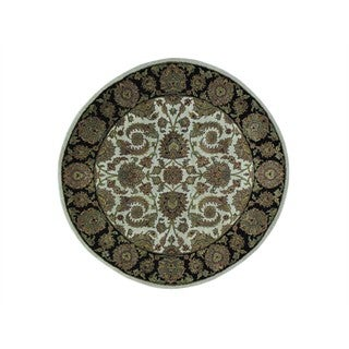 Rajasthan Ivory Round Pure Wool Hand Knotted Oriental Rug (5'2 x 5'2)