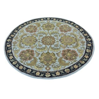 Round Thick And Plush Hand Knotted Pure Wool Rajasthan Rug (4' x 4'1)