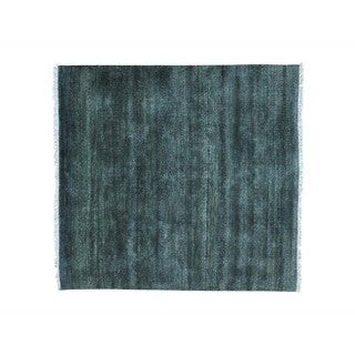 Modern Pure Wool Handmade Square Gabbeh Grass Design Rug (5' x 5'3)