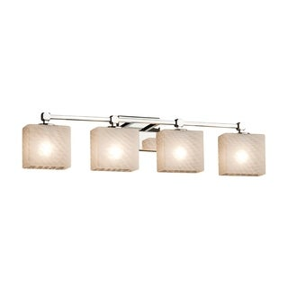 Justice Design Group Fusion Tetra 4-light Chrome Bath Bar - Weave Shade