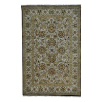Rajasthan Taupe Hand Knotted 100 Percent Wool Oriental Rug - 5'9 x 9'