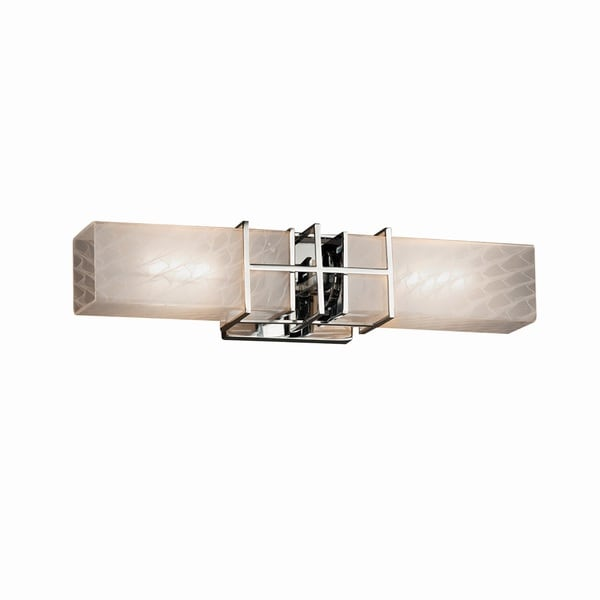 Justice Design Group Fusion Structure 2-light Polished Chrome Bath Bar, Weave Shade