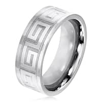 Men's Dual Finish Stainless Steel Greek Pattern Flat Band Ring - 6-8mm Wide