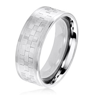 Men's Dual Finish Stainless Steel Checker Pattern Flat Band Ring - 6-8mm Wide