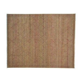 Tone on Tone with Mughal Motifs Design Handmade Rug (8'1 x 10'1)