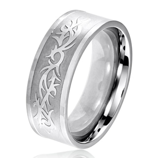 Men's Dual Finish Stainless Steel Tribal Pattern Flat Band Ring - 6-8mm Wide
