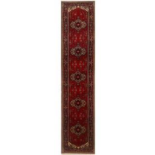Herat Oriental Indo Hand-knotted Serapi Red/ Black Wool Runner (2'7 x 16'2)