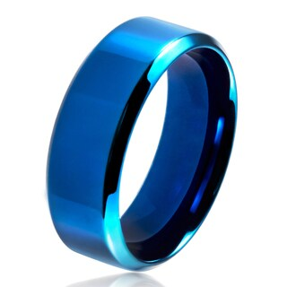 Men's Blue Plated Polished Stainless Steel Beveled Flat Comfort Fit Ring - 8mm Wide (More options available)