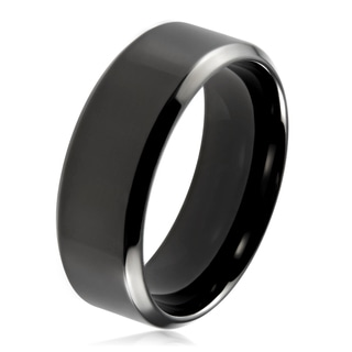 Men's Black Plated Polished Stainless Steel Beveled Flat Comfort Fit Ring - 8mm Wide