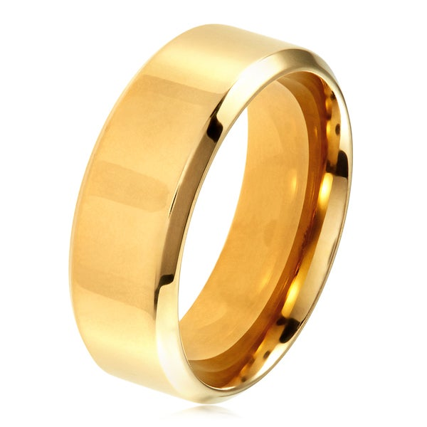 West Coast Jewelry Stainless Steel Gold Plated 8mm Wide Glossy Mirror Polished Wedding Band Ring