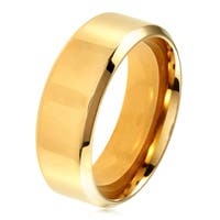 Men's Gold Plated Polished Stainless Steel Beveled Flat Comfort Fit Ring - 8mm Wide