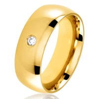 Men's Gold Plated Polished Stainless Steel Domed Cubic Zirconia Wedding Band Ring - 8mm Wide