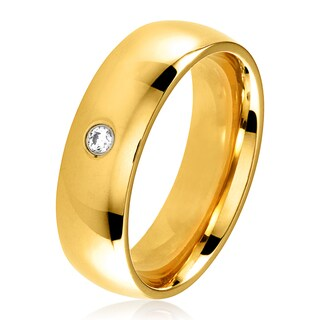 Gold Plated Polished Stainless Steel Domed Cubic Zirconia Wedding Band Ring - 6mm Wide