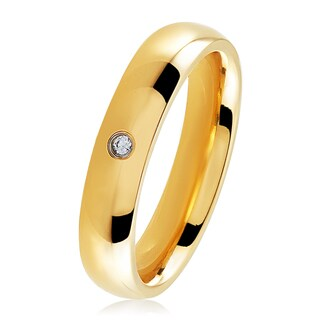 Gold Plated Polished Stainless Steel Domed Cubic Zirconia Wedding Band Ring - 4mm Wide