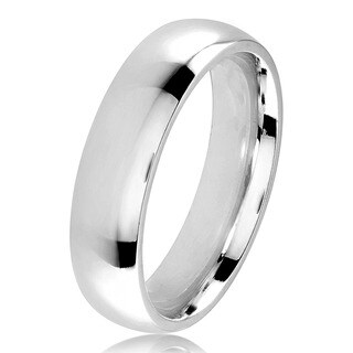 Polished Stainless Steel Domed Comfort-Fit Wedding Band Ring - 5mm Wide