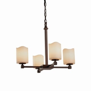 Justice Design Group CandleAria Tetra 4-light Dark Bronze Chandelier, Cream Cylinder - Melted Rim Shade