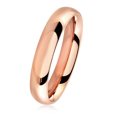Rose Gold Polished Stainless Steel Domed Comfort-Fit Wedding Band Ring - 4mm Wide