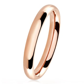 Rose Gold Polished Stainless Steel Domed Comfort-Fit Wedding Band Ring - 3mm Wide
