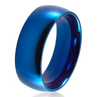 Blue Plated Polished Stainless Steel Domed Comfort-Fit Wedding Band Ring - 8mm Wide