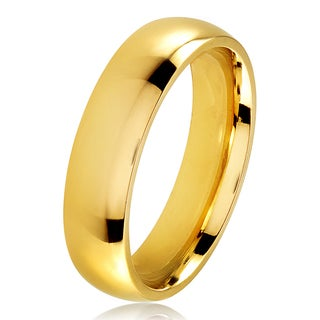 Gold Plated Polished Stainless Steel Domed Comfort-Fit Wedding Band Ring - 5mm Wide (More options available)