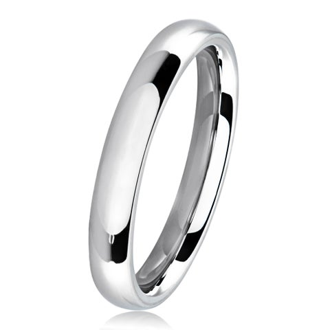 Polished Stainless Steel Domed Comfort-Fit Wedding Band Ring - 3mm Wide