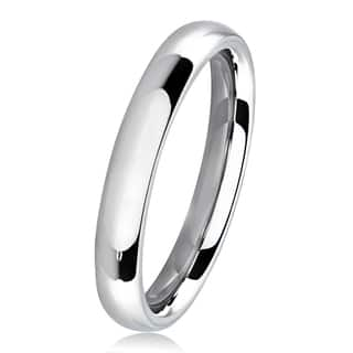 Polished Stainless Steel Domed Comfort-Fit Wedding Band Ring - 3mm Wide|https://ak1.ostkcdn.com/images/products/11688618/P18614243.jpg?impolicy=medium