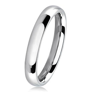 Polished Stainless Steel Domed Comfort-Fit Wedding Band Ring - 3mm Wide (More options available)