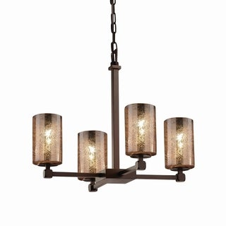 Justice Design Group Fusion Tetra 4-light Dark Bronze Chandelier, Mercury Cylinder - Flat Rim Shade