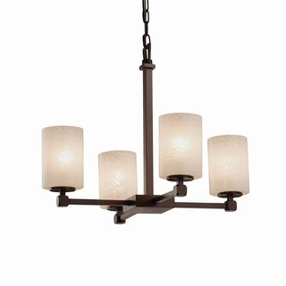 Justice Design Group Fusion Tetra 4-light Bronze Chandelier - Weave Shade