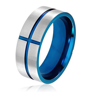 Men's Blue Plated Brushed Stainless Steel Grooved Cross Comfort Fit Ring - 8mm Wide