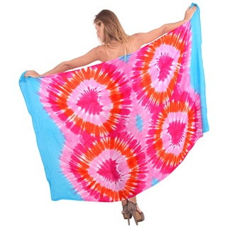La Leela Gentle Rayon Hand Tie Dye Hearts Beach Cover up Sarong 78X43 Inch Pink