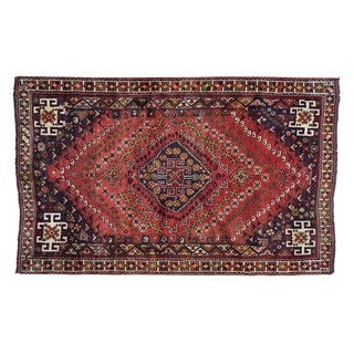 Semi Antique Persian Shriaz Pure Wool Hand Knotted Rug (5' x 8'1)