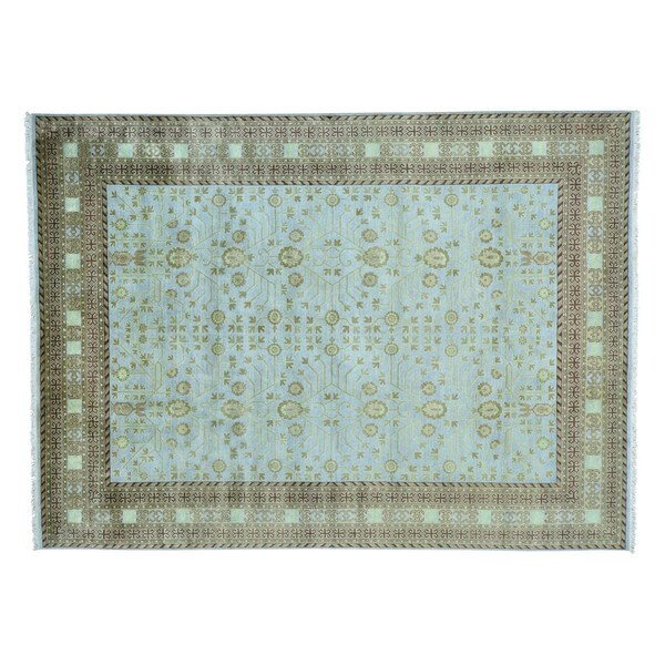 Khotan Design Pure Wool Hand Knotted Sky Blue Oriental Rug (9' x 12'2)